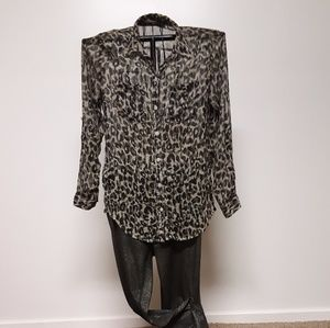 Old navy leapord print rayon blouse